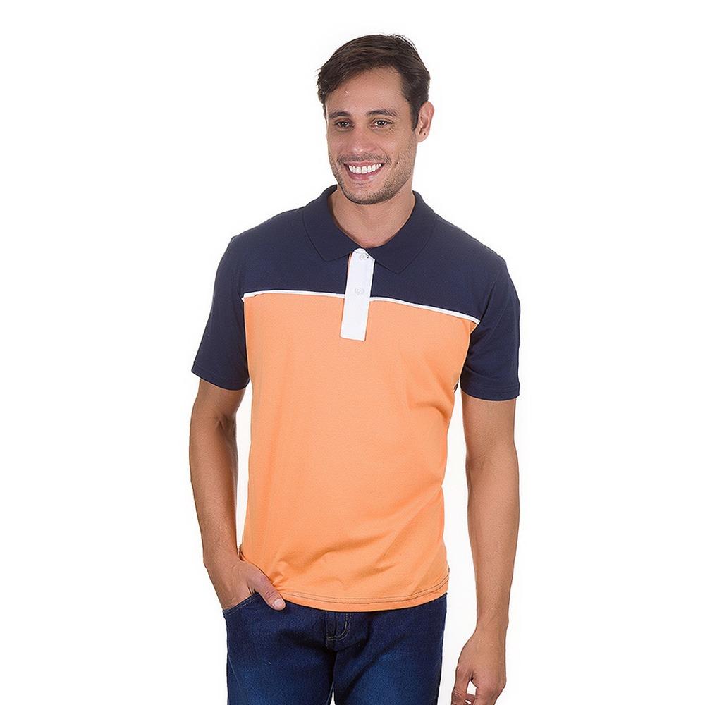 camisa polo masculina azul e laranja colombo. Carregando zoom. d7d6bb7bd1889
