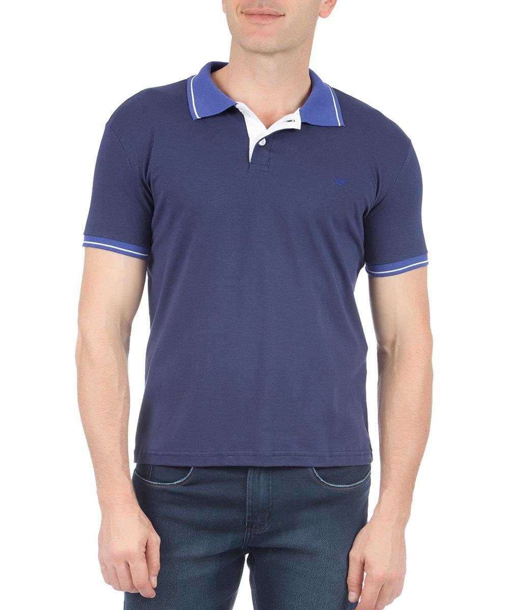 camisa polo masculina azul lisa com detalhe colombo. Carregando zoom. 30009efb9e3b6