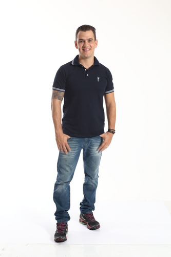 camisa polo masculina azul marinho céu
