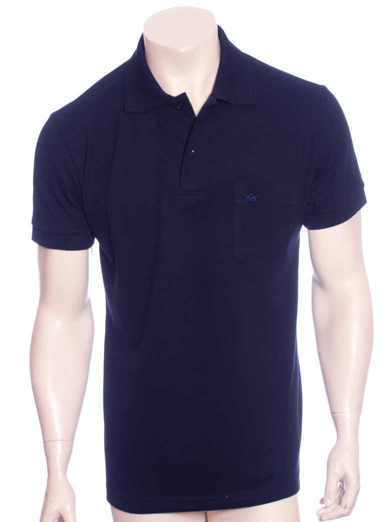 0dc2058bb camisa polo masculina azul marinho com bolso. Carregando zoom.