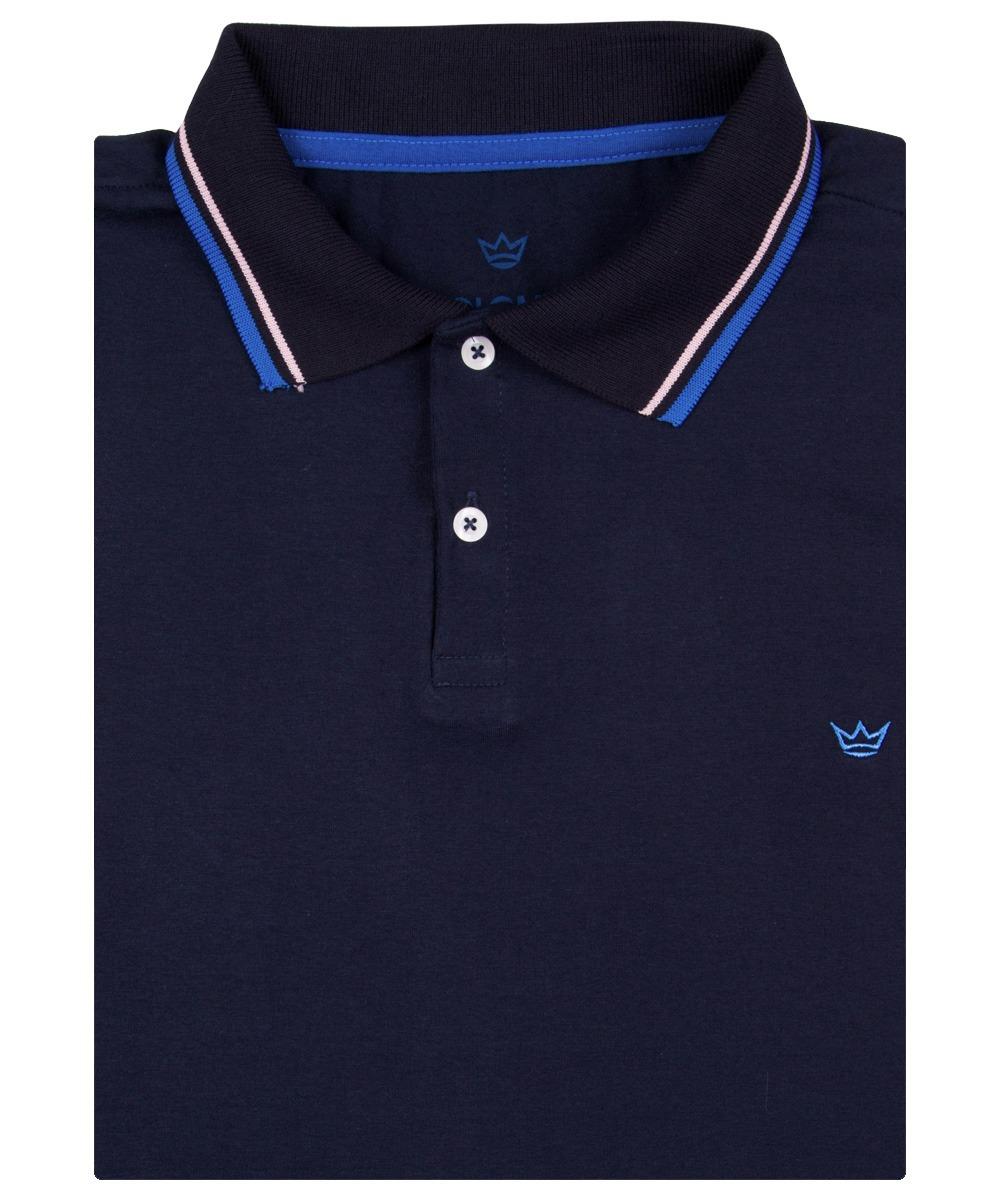 Camisa Polo Masculina Azul Marinho Com Detalhe Colombo - R  59 ae4b33f16a6be