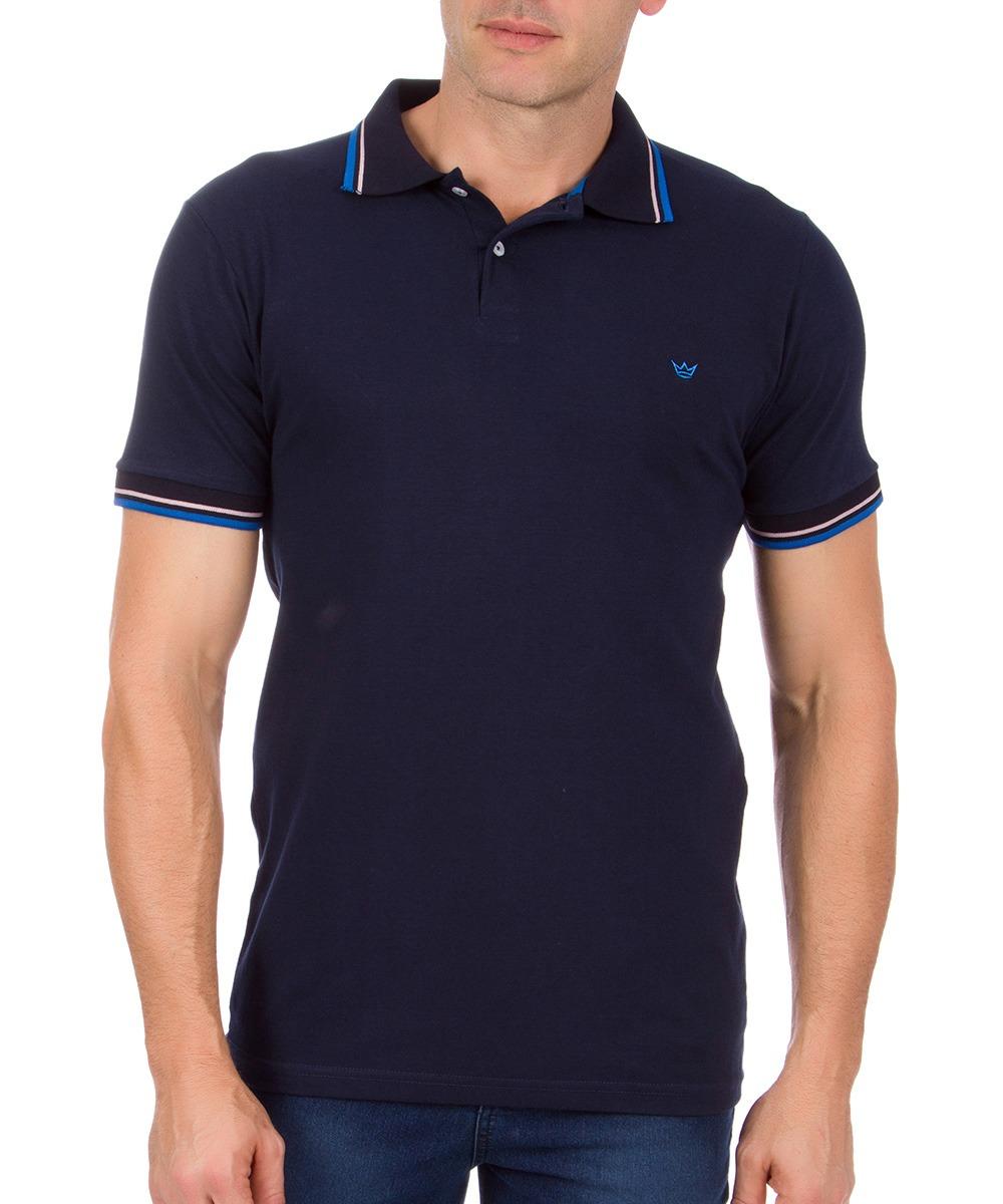 camisa polo masculina azul marinho com detalhe colombo. Carregando zoom. 2b8b943dbc0b7