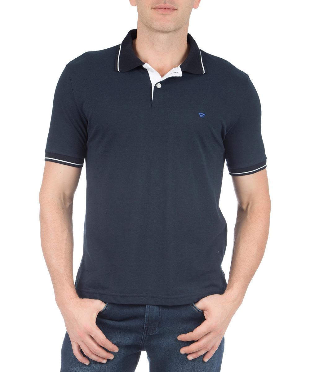 camisa polo masculina azul marinho lisa com detalhe colombo. Carregando zoom . 1633033639597