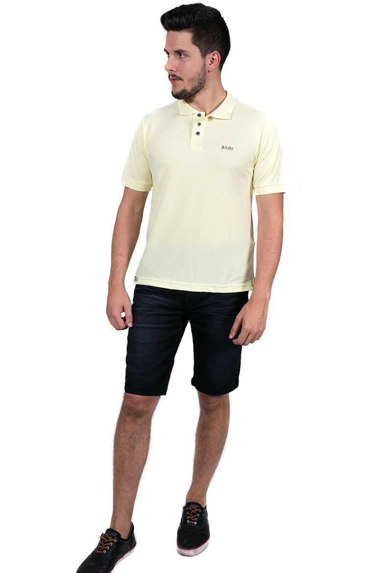 69181f5220 camisa polo masculina básica três botões baiki amarela. Carregando zoom.