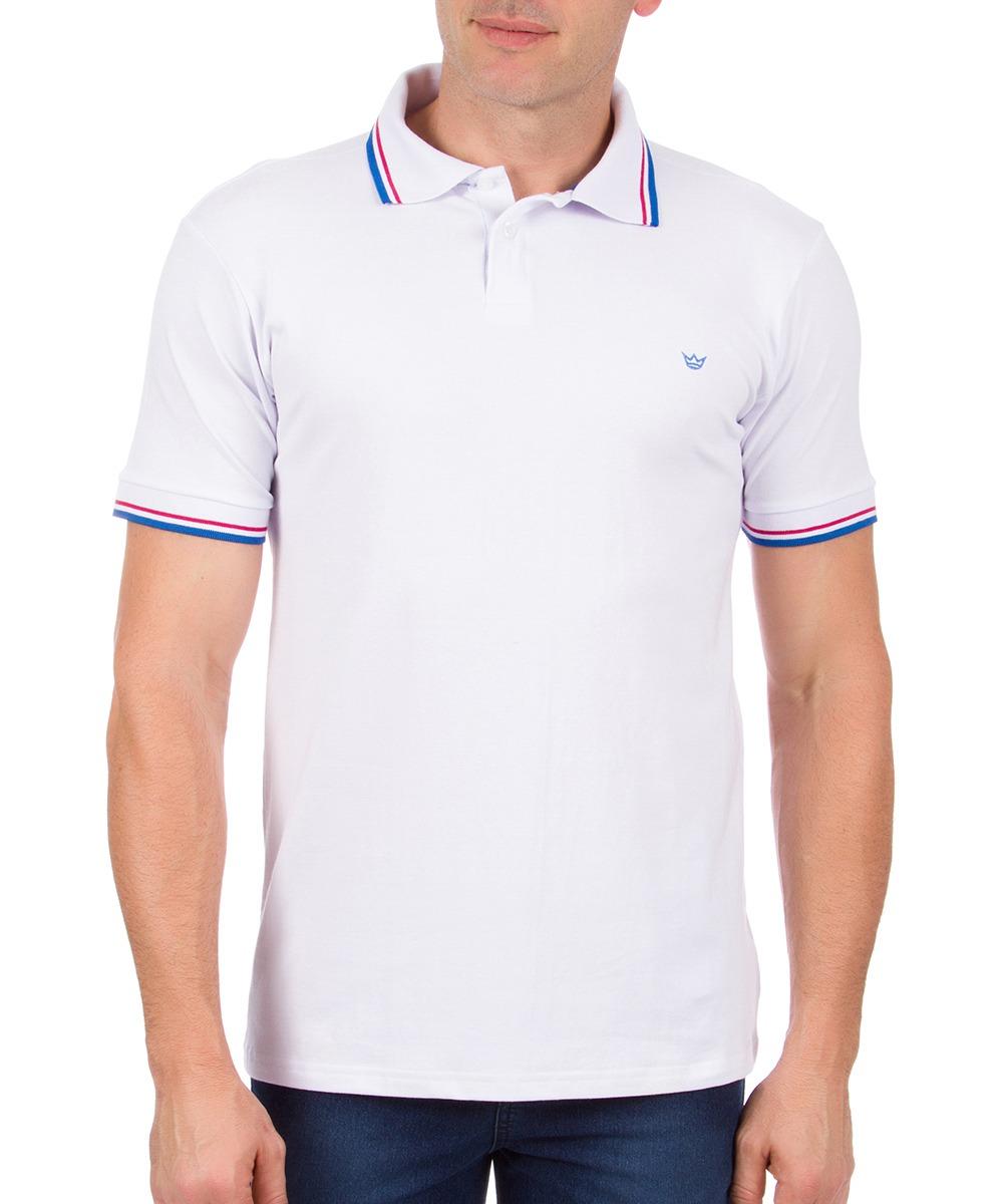 b1e34e1ab7 camisa polo masculina branca com detalhe colombo. Carregando zoom.
