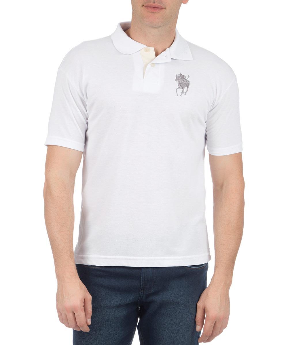 camisa polo masculina branca lisa com bordado colombo. Carregando zoom. 36e1b93ef03d4