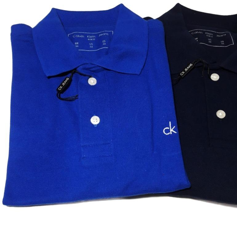34a6211708220 Camisa Polo Masculina Calvin Klein Slim Fit Algodão - R  125