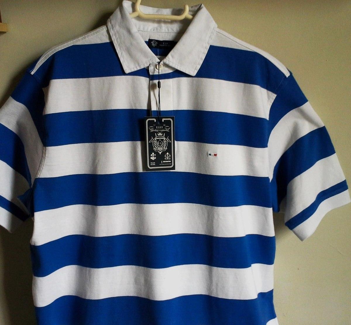 camisa polo masculina elle et lui azul  branco tm m   g. Carregando zoom. 36d78fdf9c2b1