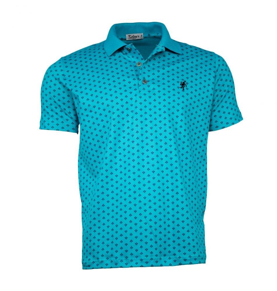 fe6f4ca6293 Camisa Polo Masculina Estampada Verde Agua