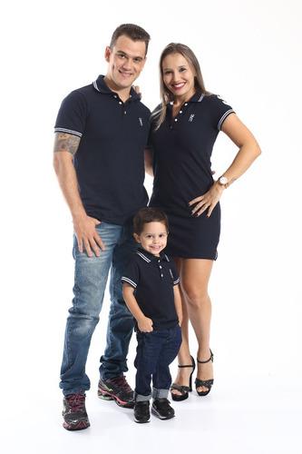 camisa polo masculina infantil azul marinho céu