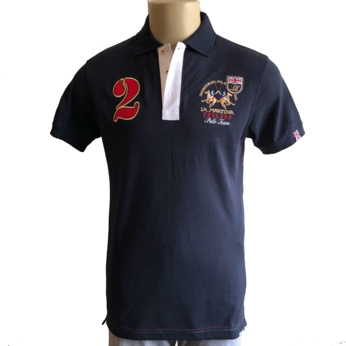b7ce383204 camisa polo masculina la martina england   germany bordada. Carregando zoom.