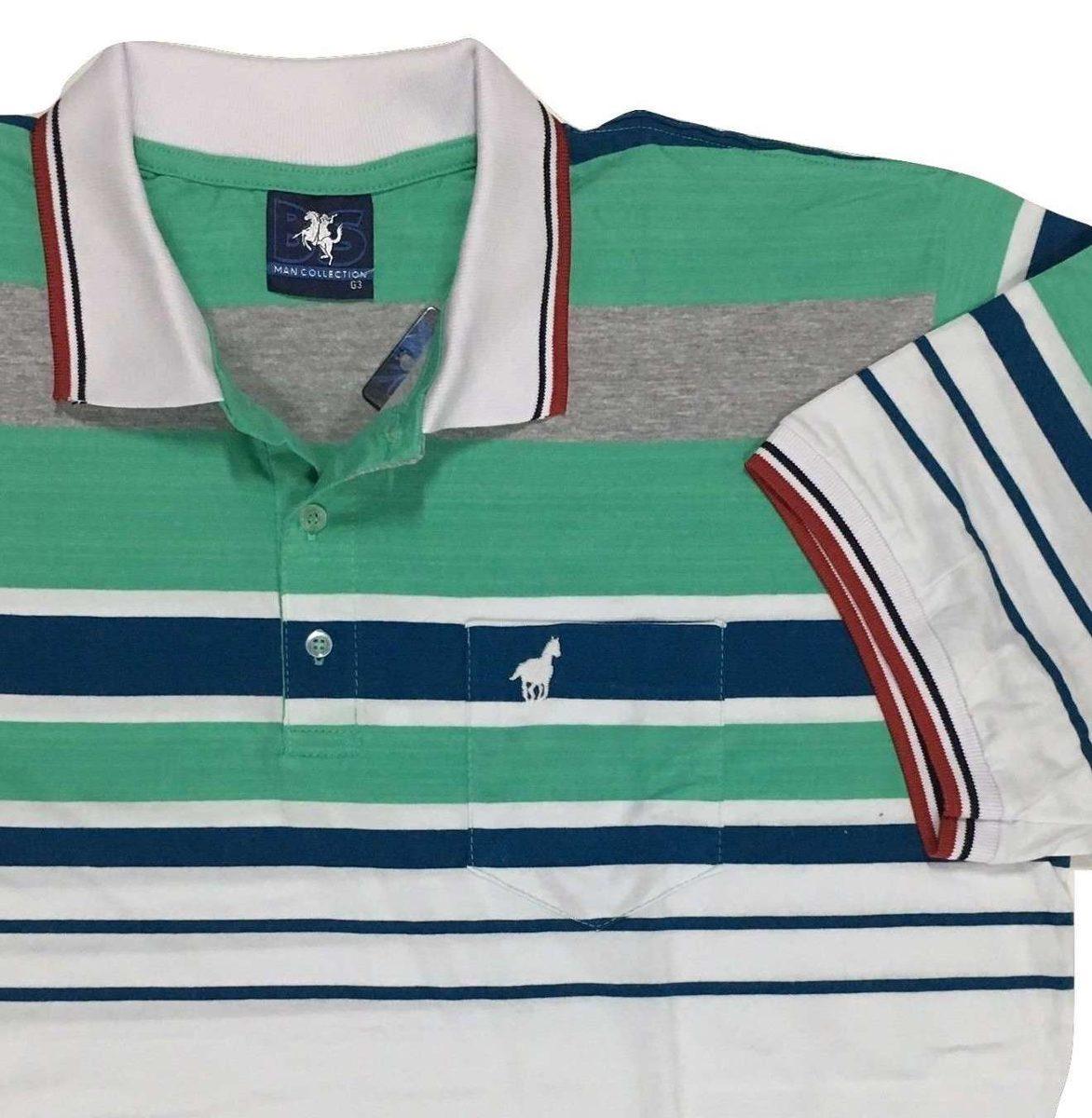 e6532c9a6f camisa polo masculina listrada com e sem bolso plus size 545. Carregando  zoom.