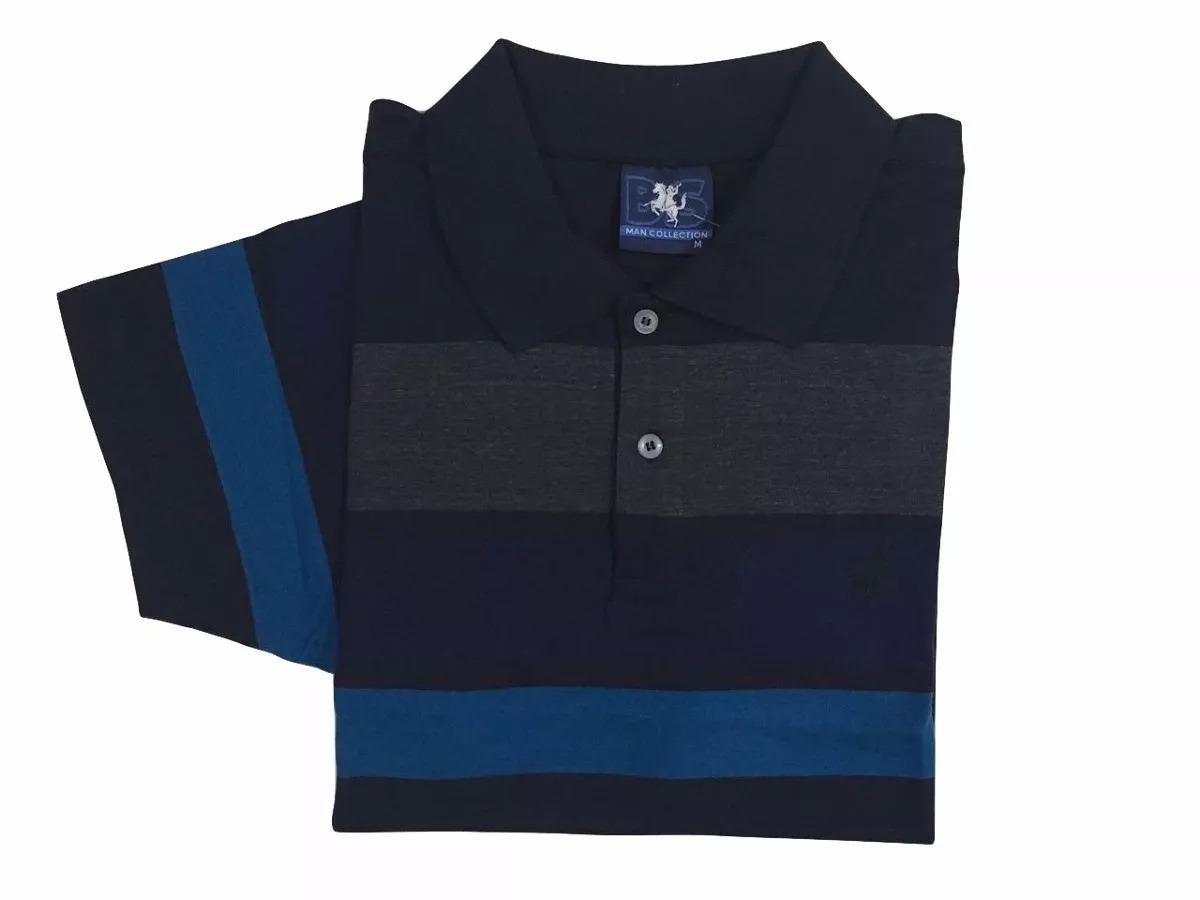 084bca7eb6 camisa polo masculina listrada sem bolso bs collection bs-10. Carregando  zoom.