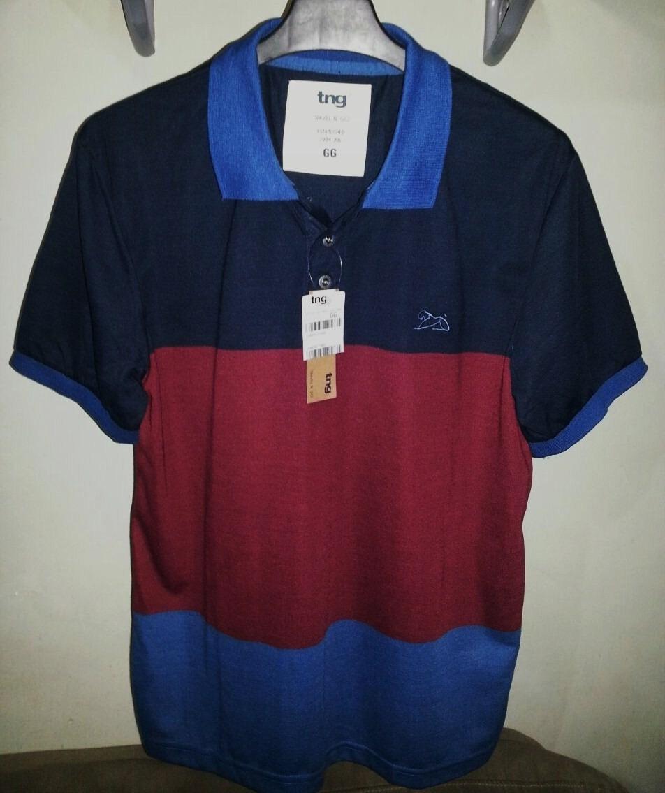 ab738bc50b camisa polo masculina marca famosa (tng) azul   vermelha gg. Carregando  zoom.