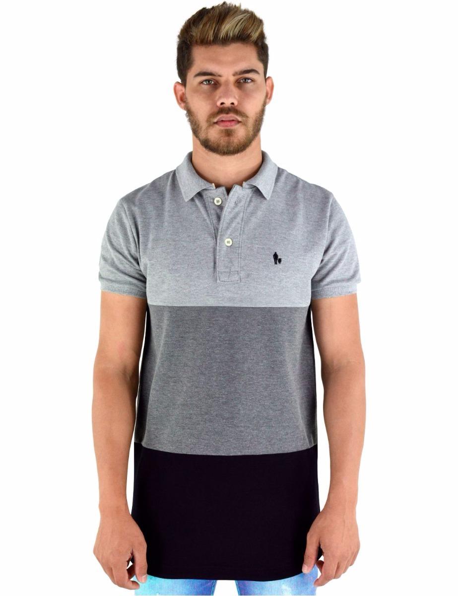 camisa polo masculina modelagem longline 3 cores. Carregando zoom. 5eed3bd244d74