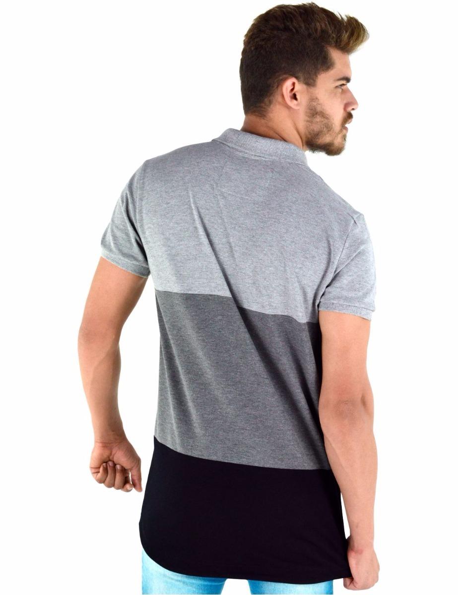 3e8b7cb90f01a camisa polo masculina modelagem longline. Carregando zoom.