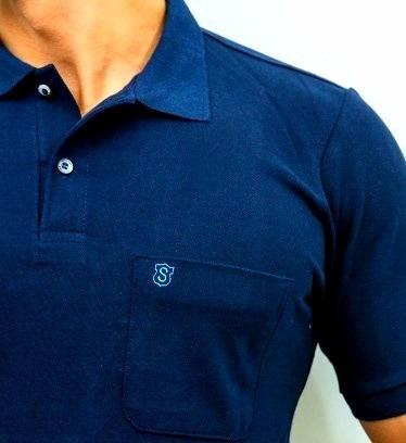 c7cf0ad2d Camisa Polo Masculina Original Piquet Com Bolso Azul - R  49