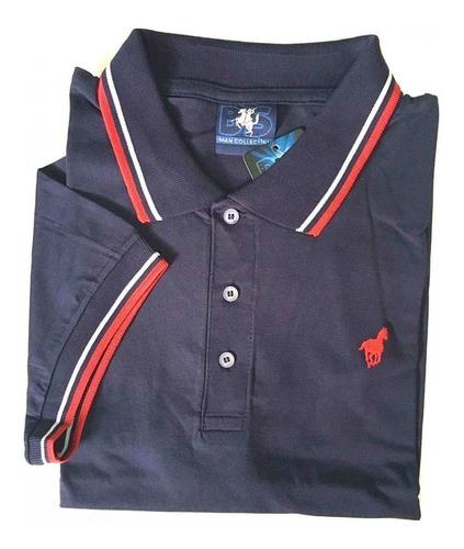 camisa polo masculina premium lisa sem bolso malha 413