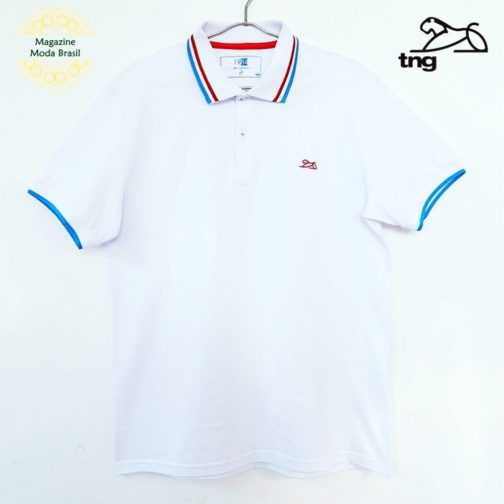 dc8e5ec52b camisa polo masculina tng básica com friso cor branca. Carregando zoom.