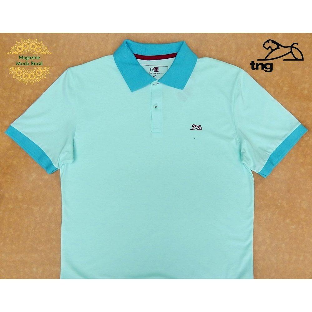 camisa polo masculina tng básica contraste verde menta. Carregando zoom. aa5812d8bab84