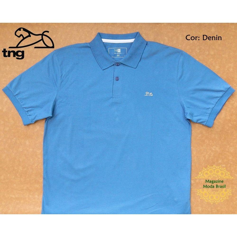 camisa polo masculina tng lisa azul denin. Carregando zoom. ed1f1e51c198e