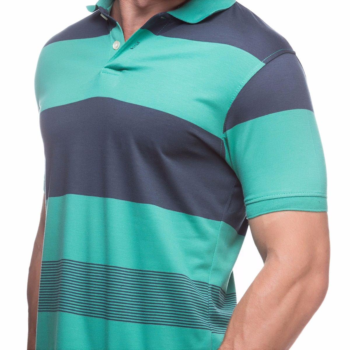 aff15c49fc camisa polo masculina verde listrada em promoção gola polo. Carregando zoom.