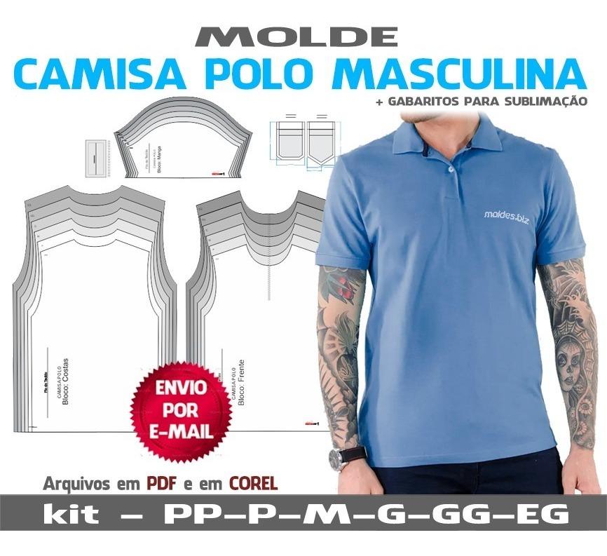 Camisa Polo Masculinas Moldes Apostila Corte E Costura R 17