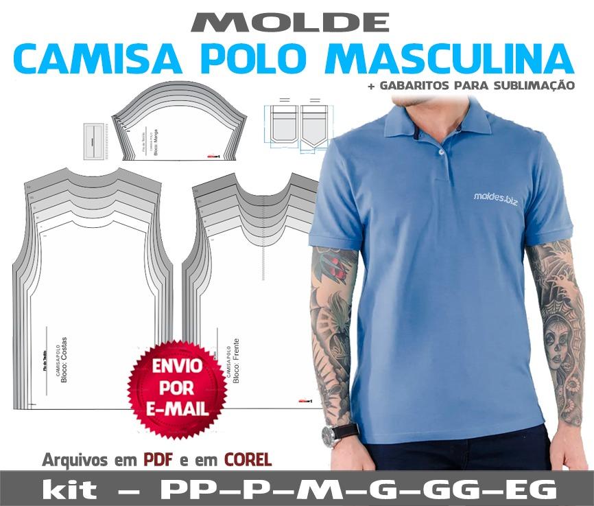 38121dce63 Camisa Polo Masculinas Moldes + Curso Corte E Costura - R  17