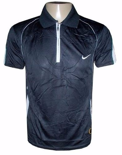 Camisa Pólo Nike Preta Dri Fit Zíper Frete Grátis - R  84 d23df61269b2c