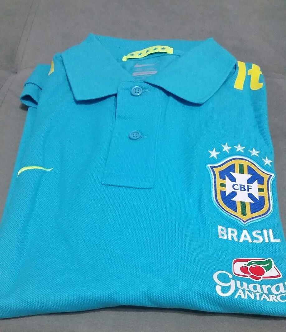 camisa polo nike seleção brasileira cbf 2013 azul turquesa. Carregando zoom. 04f1e3ca0f632