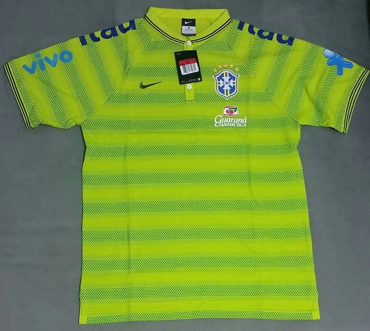 camisa polo nike seleção brasileira cbf 2014 verde limão. Carregando zoom. de32a595192