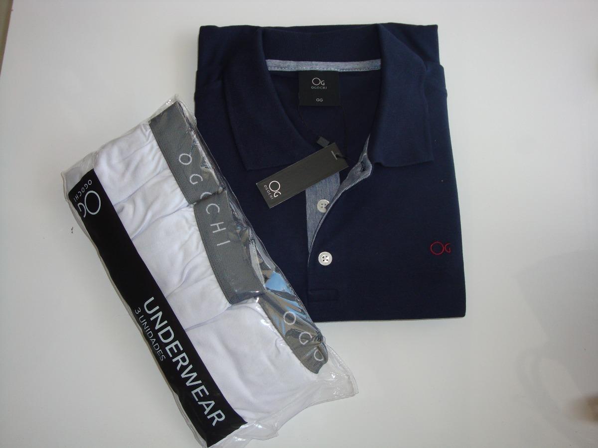228cd58b3c2 Camisa Polo Ogochi Original + Kit 3 Cuecas - R  155