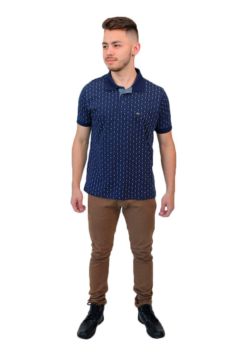 592462b438 camisa polo padronagem de âncoras azul marinho baiki badhai. Carregando  zoom.
