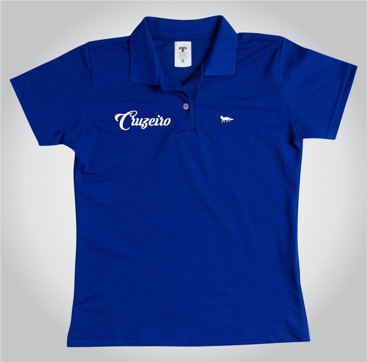camisa polo personalizada cruzeiro lais feminino azul. Carregando zoom. 1d7493212c44c