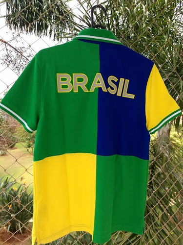 camisa pólo piquet brasil bordado tommy hilfiger original