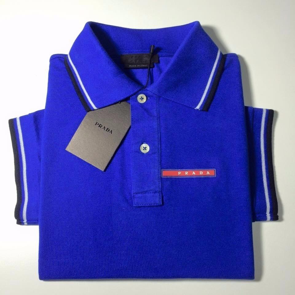 9a1e324b59 ... 6c166a729c0 Camisa Polo Prada Azul Marinho Masculino Manga Curta - R  99