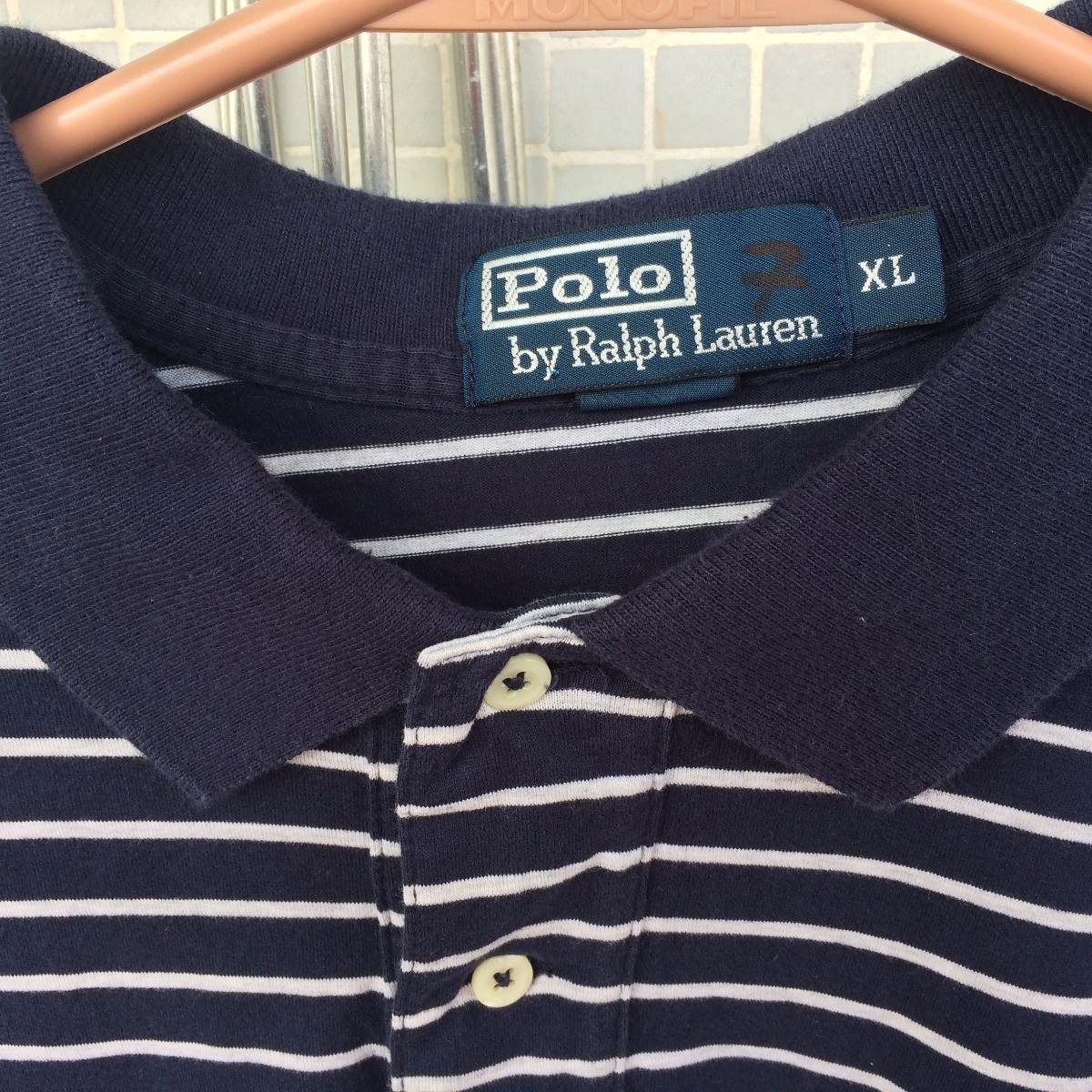 camisa polo ralfh lauren azul com listras brancas xl usada. Carregando zoom. dbe1f3fd86f01