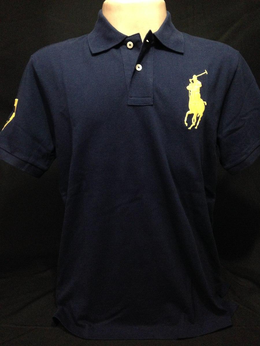 camisa polo ralph lauren azul cavalo amarelo tam gg camiseta. Carregando  zoom. 8efe40094e2