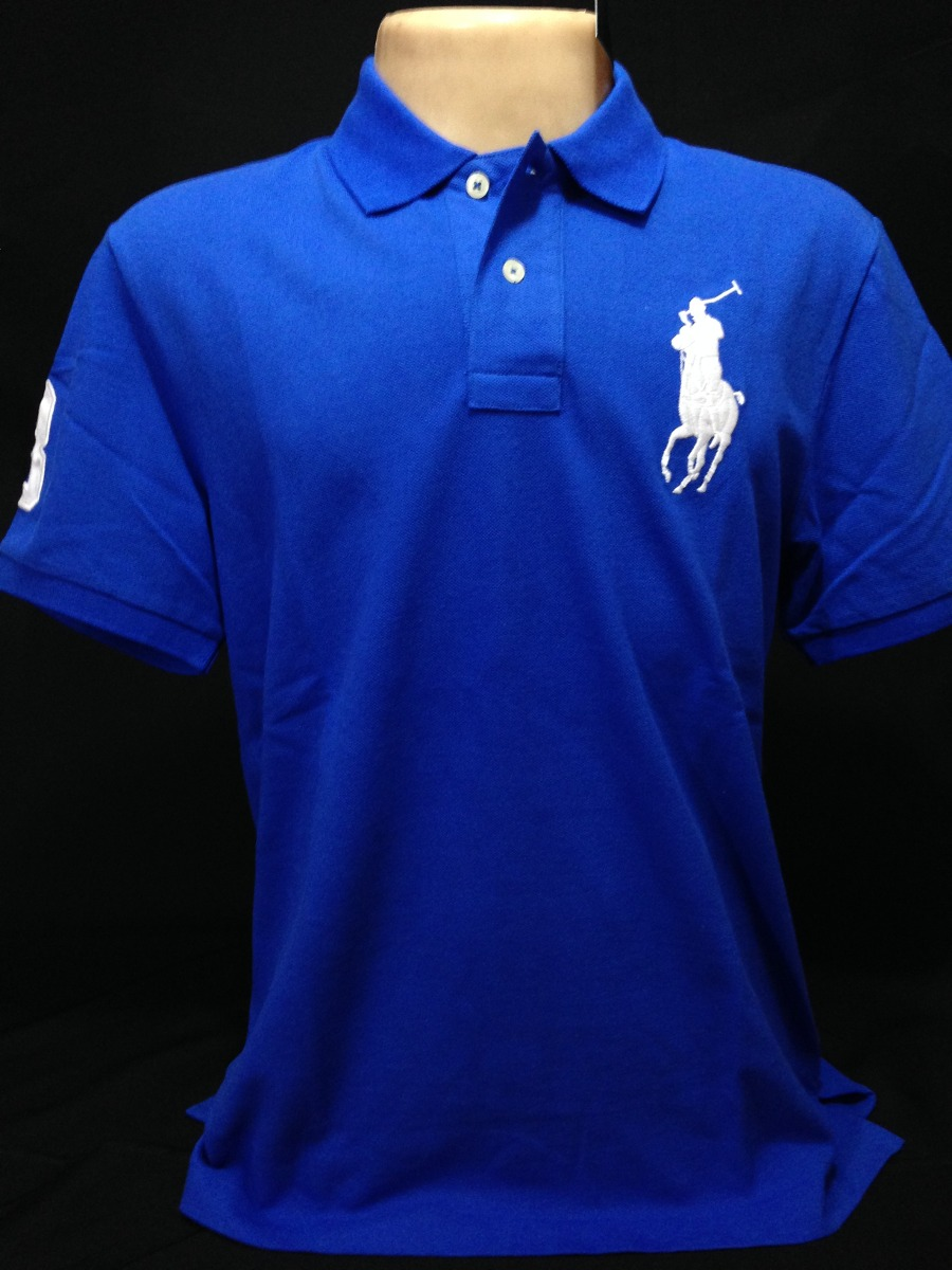 camisa polo ralph lauren azul poney branco tam gg camiseta. Carregando zoom. 4107da22365af