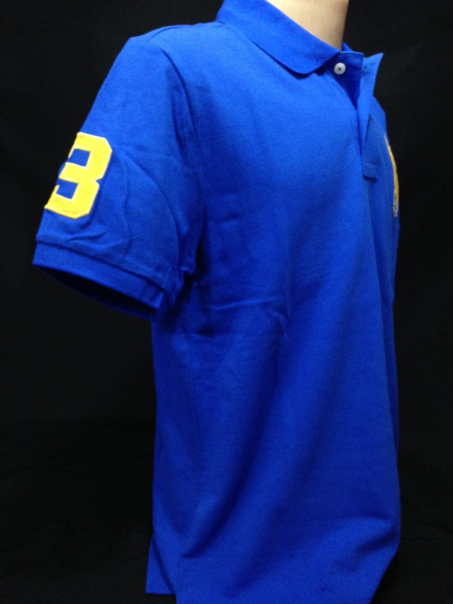 camisa polo ralph lauren azul simbolo amarelo tam g camiseta. Carregando  zoom. acfe9c2e1cad1