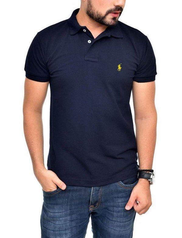 4e40b29186 Camisa Polo Ralph Lauren Ct Fit Azul Marinho Bordado Amarelo - R ...