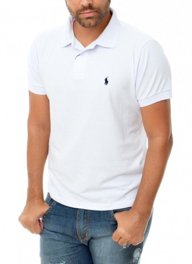 d058d39534 camisa polo ralph lauren custom fit branca bordado azul. Carregando zoom.