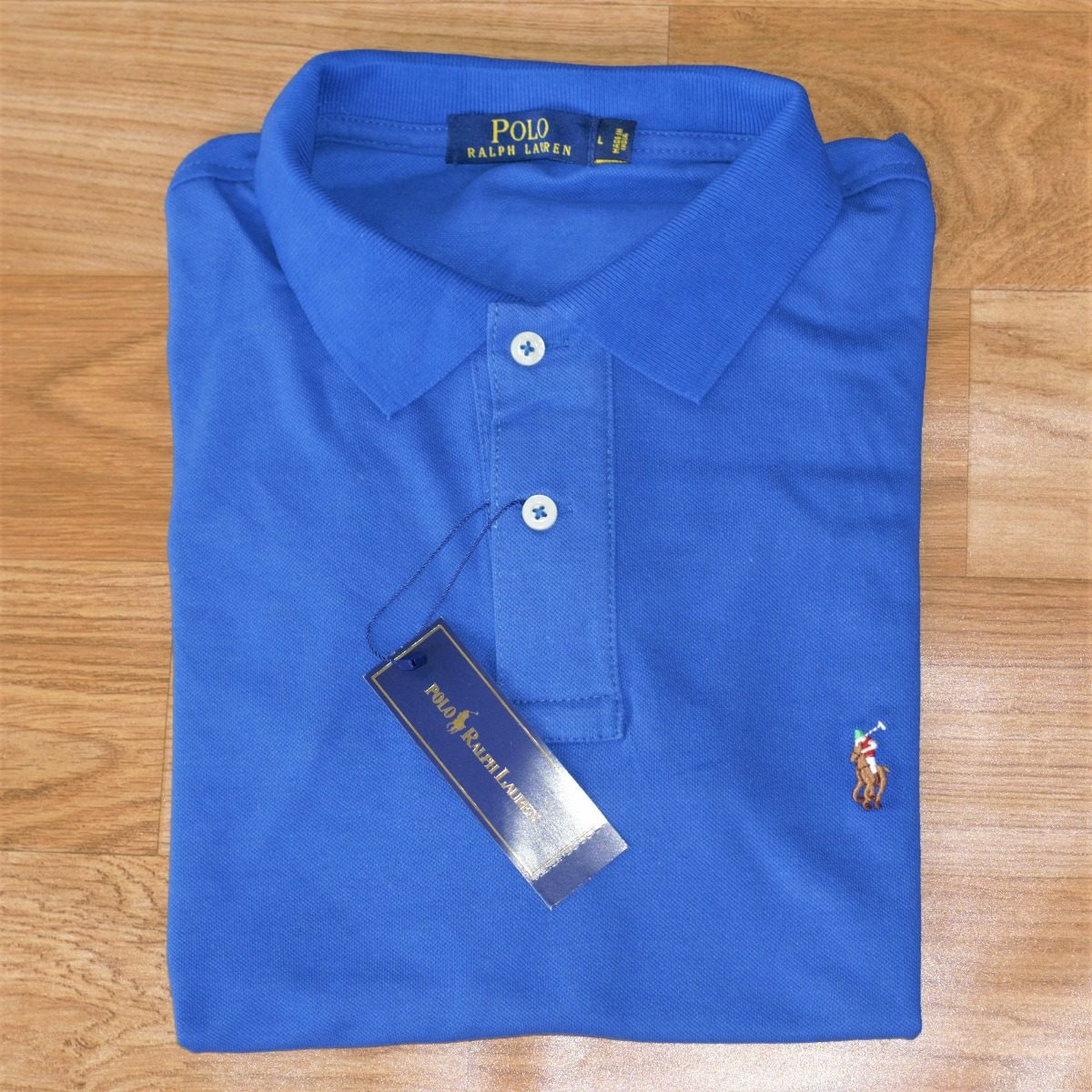 96b0ef574e Camisa Polo Ralph Lauren Masc C Fit Azul Royal Logo Colorido - R ...