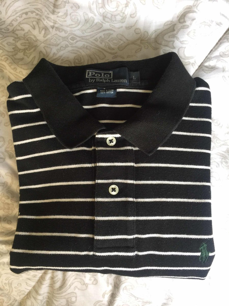 camisa polo ralph lauren negra de rayas blancas original. Cargando zoom. a93146af21f