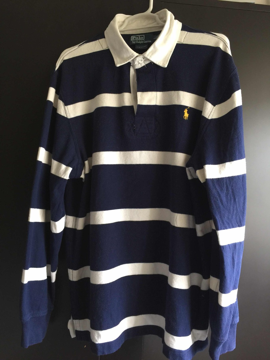 b397db3f9c385 Camisa Polo Ralph Lauren Rayas Azul Con Blanco Original -   800.00 ...