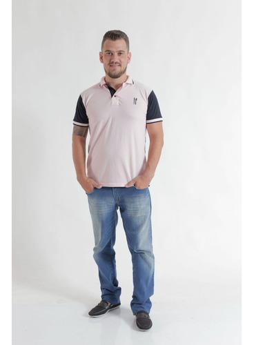 camisa polo rosa com azul marinho