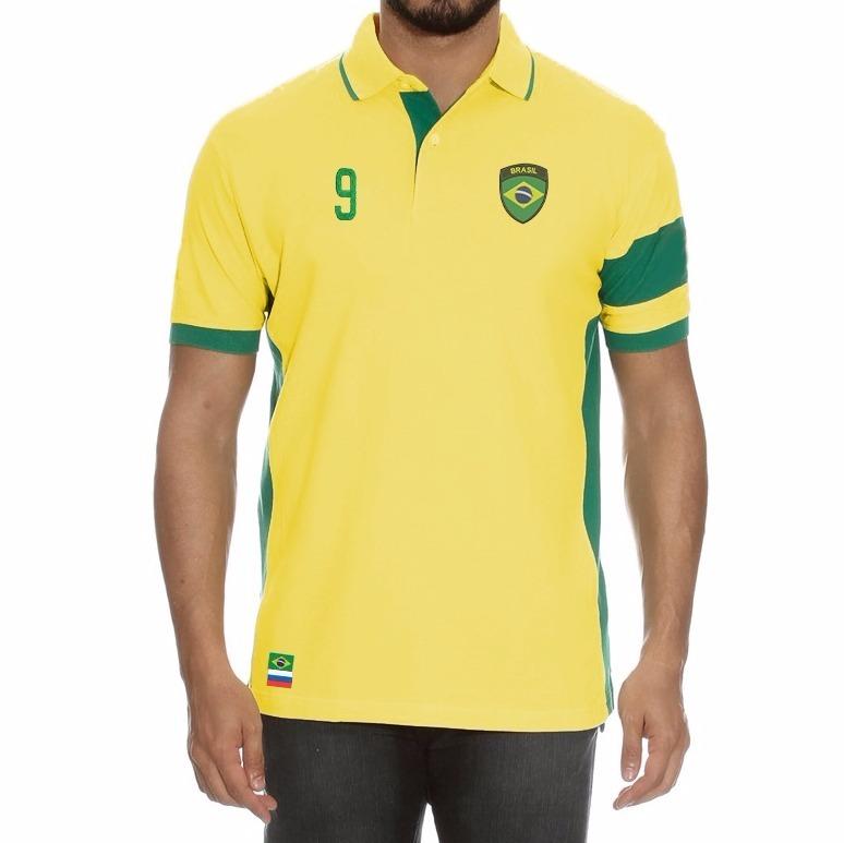 f72d2dbd80 Camisa Polo Seleção Brasileira Copa 2018 Verde E Amarela - R  89