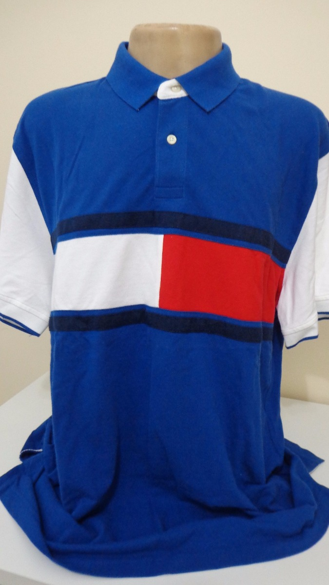 48e56d0c80 camisa polo tommy hilfiger azul vermelha e branca tam ggg. Carregando zoom.