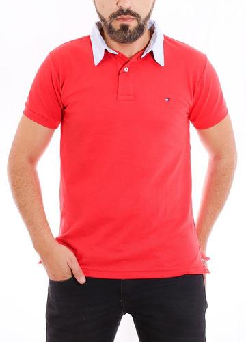 camisa polo tommy hilfiger custom fit vermelho gola oxford