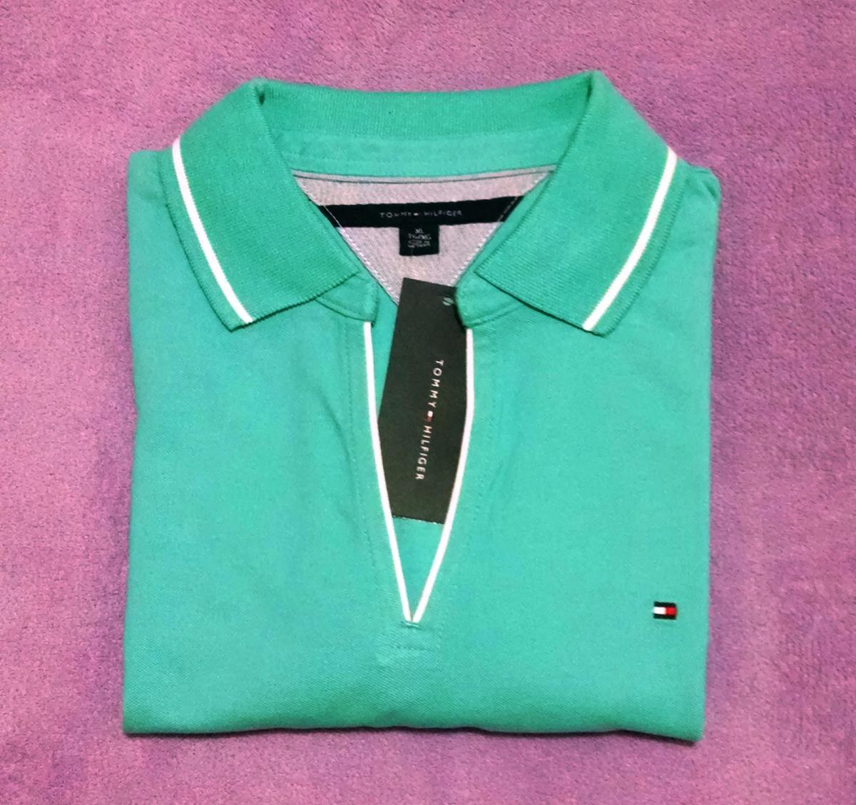 49067ebe1c1ce camisa polo tommy hilfiger fem original xg verde orginal. Carregando zoom.